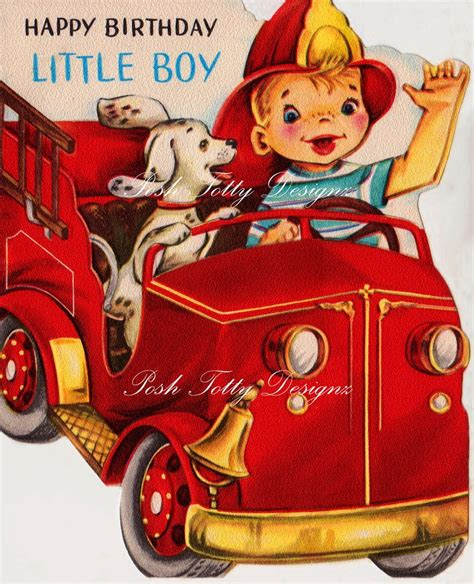 Happy Birthday Boy Wishes 1950s Happy Birthday Little Boy Fire Chief Vintage