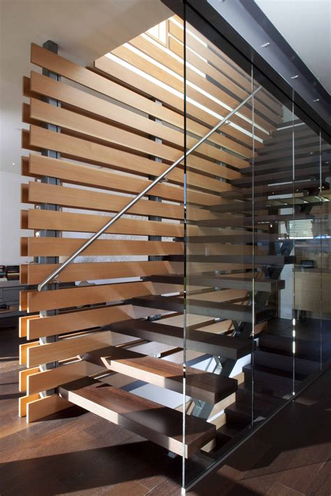 Modern Stairs Design Indoor Interior Concrete Staircase With Wooden Steps And Glass Railing Panels Of Plus Concrete