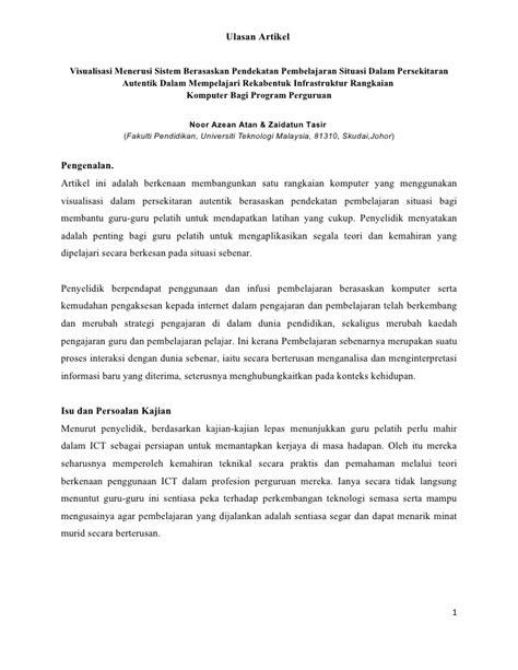 bentuk format artikel jurnal penulisan ulasan artikel