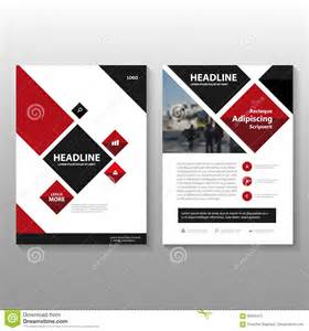 abstract square red black leaflet brochure flyer template