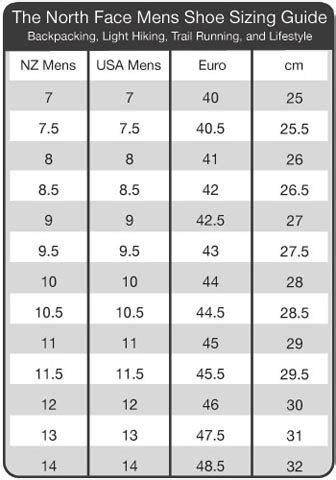 shoe size chart north face torpedo7 sizing information chart