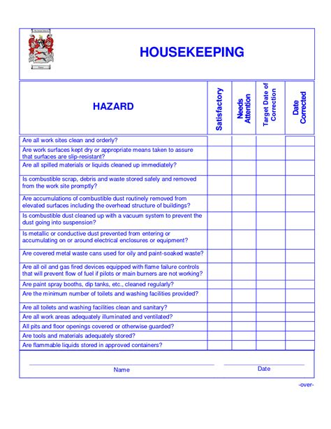hotel inspection checklist template 9 best images of hotel housekeeping checklist printable