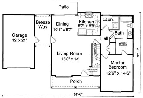 Single Garage With Breezeway 39094st 1st Floor Master House Floor Plans With Breezeway