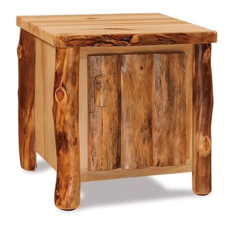 End Table With Door by Amish Rustic Aspen Wood End Table With Door