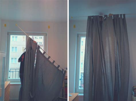 how to put up curtain rods the best way to hang curtains without drilling packmahome