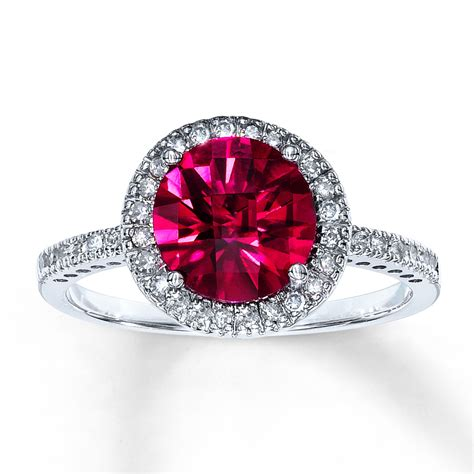 lab created ruby ring 1 5 ct tw 10k white gold