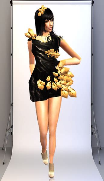 Gaga Origami Dress - gaga origami black dress by krystal91 the sims on