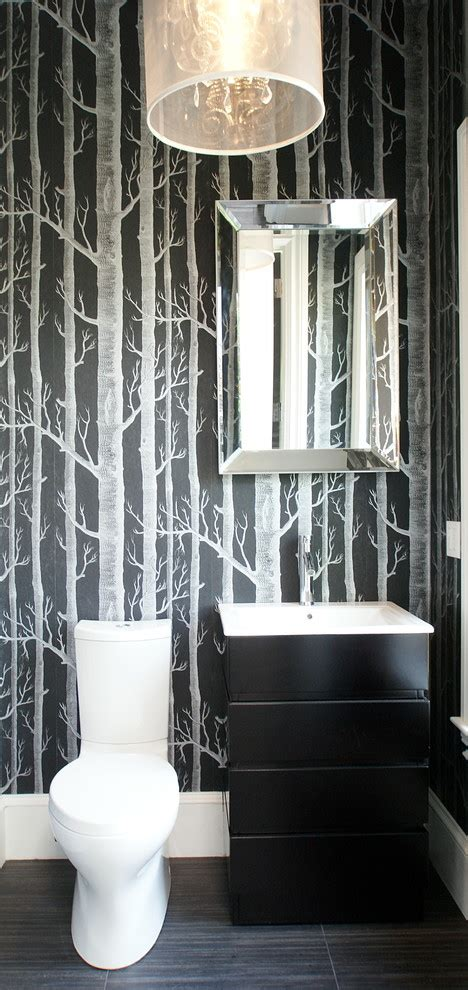 Modern Bathroom Wallpaper Birch Tree Wallpaper Powder Room Transitional With Towel