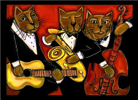 Fabric For Duvet Cover Cool Jazz Cats Painting By Cynthia Snyder