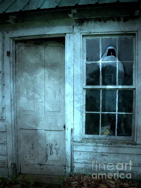 haunted house window surreal gothic grim reaper in window spooky haunted house reflection in window by