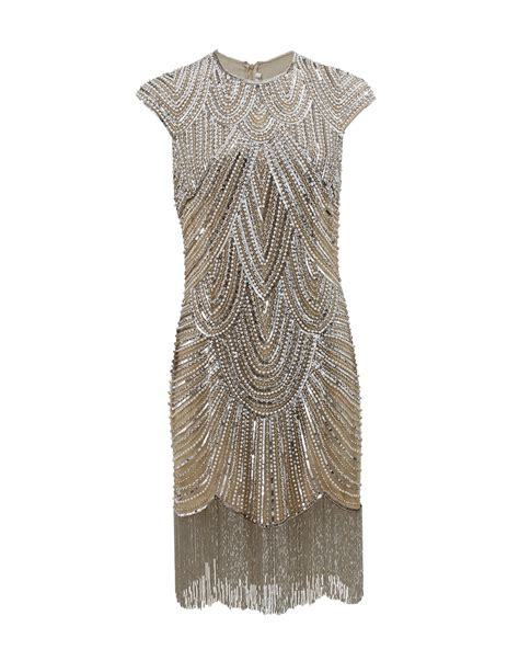 beaded deco dress lyst naeem khan deco beaded fringe dress in metallic