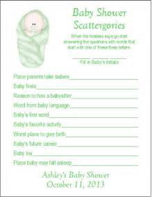 24 personalized scattergories baby shower