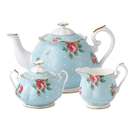 royal albert royal albert polka blue teapot sugar creamer set wwrd