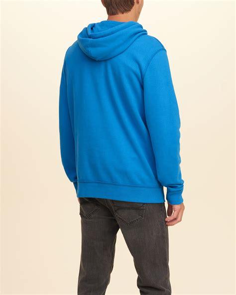 light blue hollister hoodie lyst hollister iconic fleece hoodie in blue for men