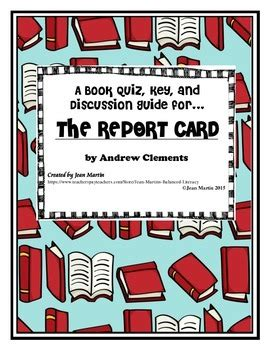 report card book discussion guide and test for the report card by andrew