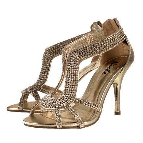 high heel sandals gold leather look diamante high heel evening sandals shoes gold