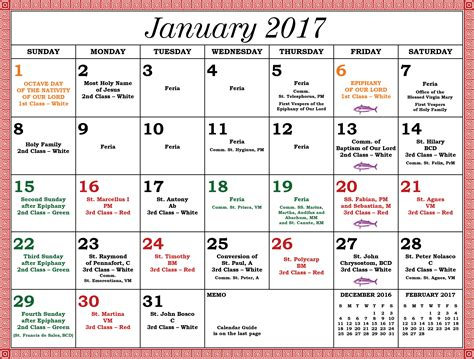 Religious Calendar 2017 Liturgical Calendar Servants Of The Holy Family
