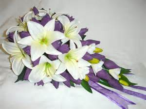Purple and white tulips wedding bouquet silk bridal bouquets set
