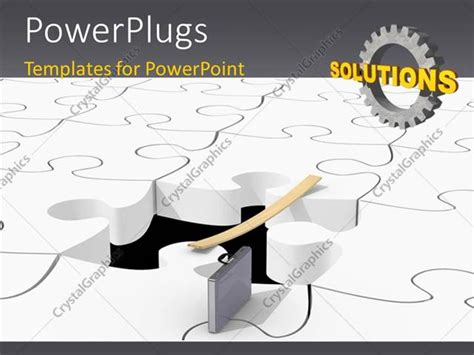powerpoint template piece of puzzle missing problem and powerpoint template solved white puzzle pieces with a