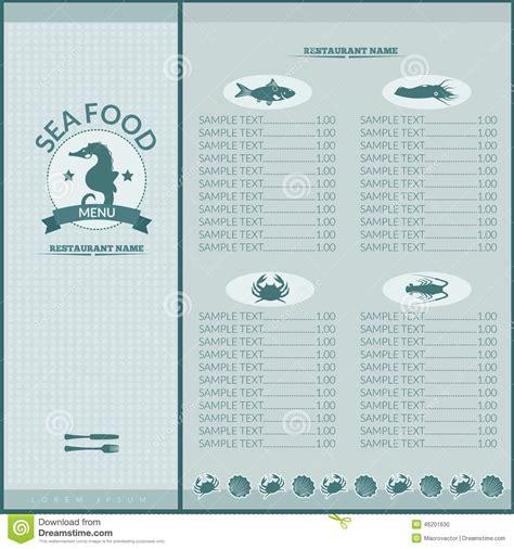 seafood menu templates seafood restaurant menu stock vector image 46201630