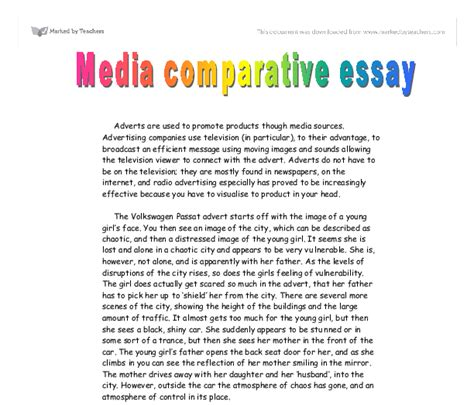 Media Studies Essay by Media Comparative Essay Adverts Gcse Media Studies Marked By Teachers