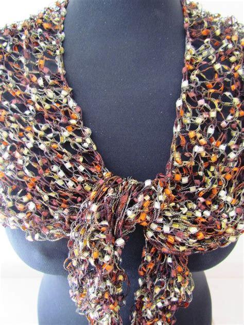 pattern for ribbon yarn rusty colored ladder yarn summer fancy ribbon scarf for