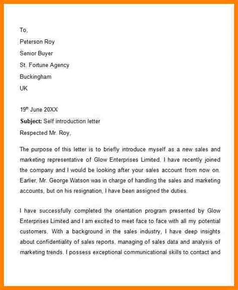 Exle Resume Introduction Letter Letter Introducing Yourself 25 Images 6 Letter