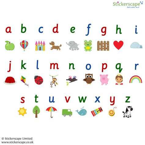 Wall Stiker Alphabet illustrated alphabet wall sticker stickerscape uk