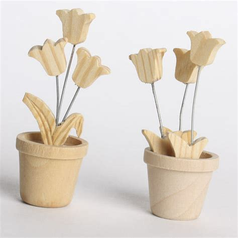 Not Just Flowers But Wooden Flowers by Miniature Wood Flowers In Pots Wood Miniatures