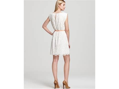 vince camuto lace dress with belt in white lyst