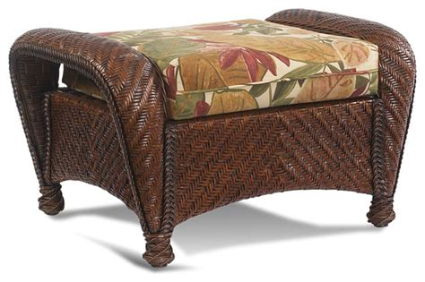 Wicker Rattan Ottoman Casablanca Tropical Footstools