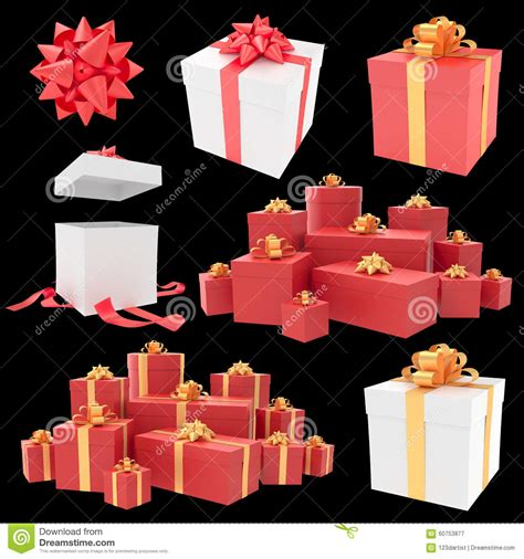 christmas gift boxes with ribbon collection stock photo