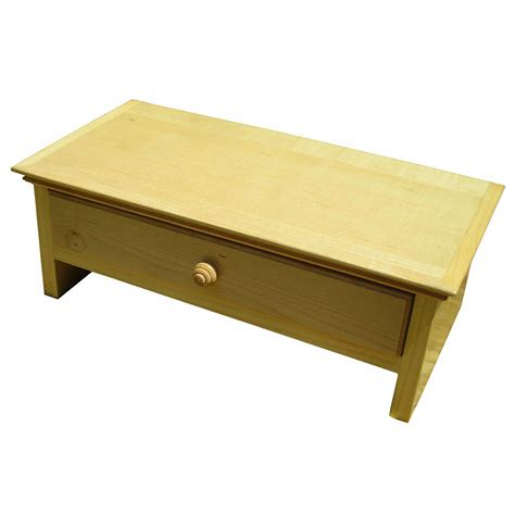 medium size wood monitor stand desk organizer with drawer in