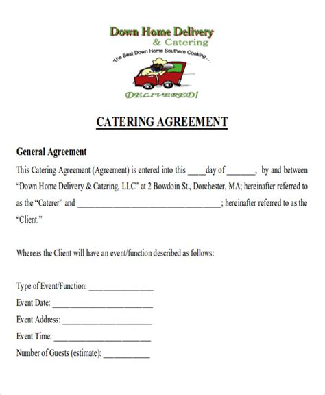 sle catering contract agreements 8 exles in word pdf