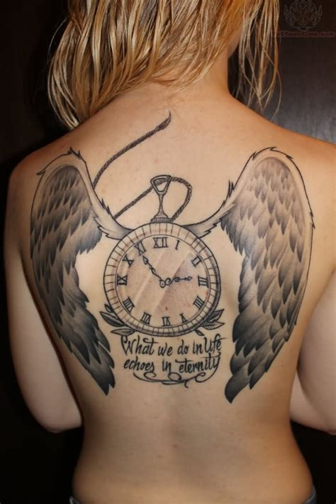 back tattoo girl winged clock on back