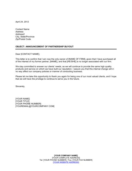 payment terms letter template announcement of partnership buyout template sle