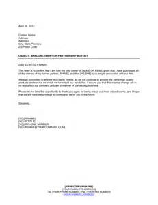 Contract Buyout Letter Announcement Of Partnership Buyout Template Sle Form Biztree