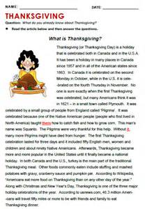thanksgiving reading passages free worksheets 187 thanksgiving reading comprehension