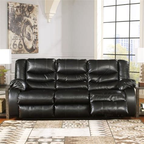 ashley furniture black leather couch ashley furniture linebacker leather reclining sofa in