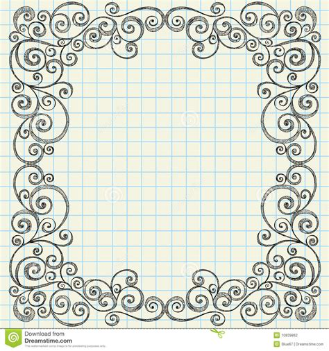 doodle how to sketchy doodles border on notebook paper stock vector