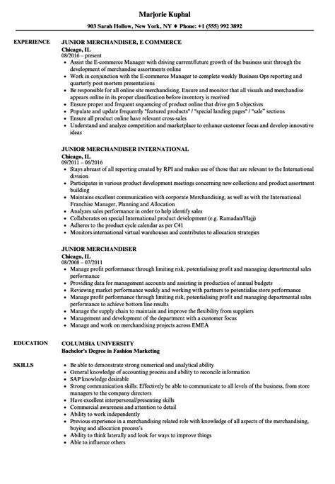 junior merchandiser resume sles velvet