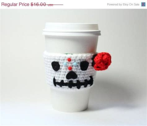 java pattern holder sugar skull coffee cozy day of the dead can wrapper