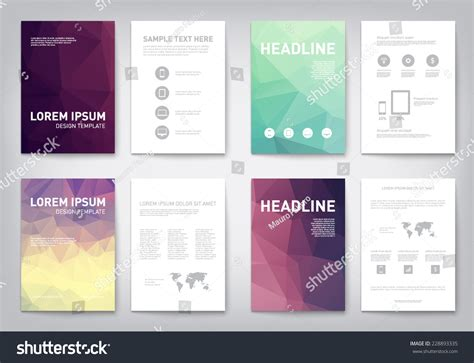 report layout design exles set modern abstract brochure flyer report stock vector