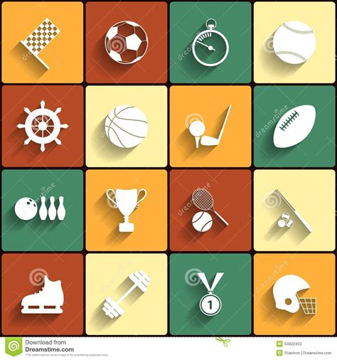 flat design icon vector set of vector sport icons in flat design stock