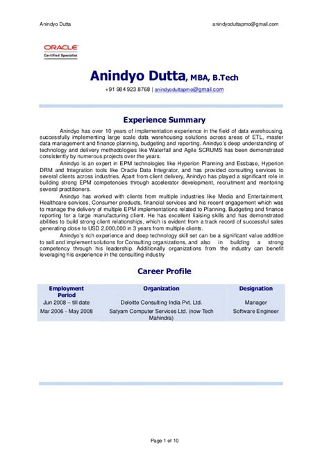 Oracle Mba by Anindyodutta Manager Mba Btech Oracle Certified