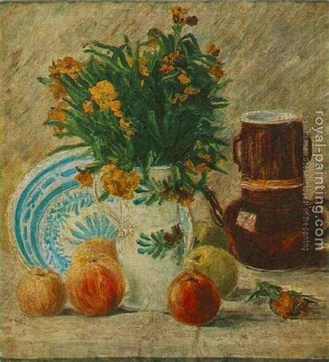Gogh Vase With Flowers by Vase With Flowers Coffeepot And Fruit By Vincent Gogh
