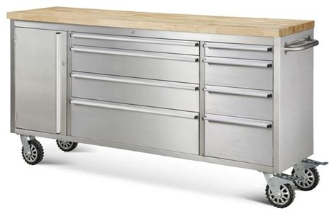 garage rolling metal steel tool box storage cabinet wooden hyxion tool chests 72 quot 8 drawer rolling metal tool chest