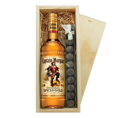 morgans spiced gift set captain s spiced rum truffles wooden box 194 a