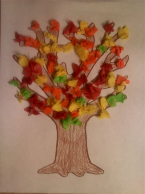 Tissue Paper Tree Craft - crafts for preschoolers fall crafts cooking