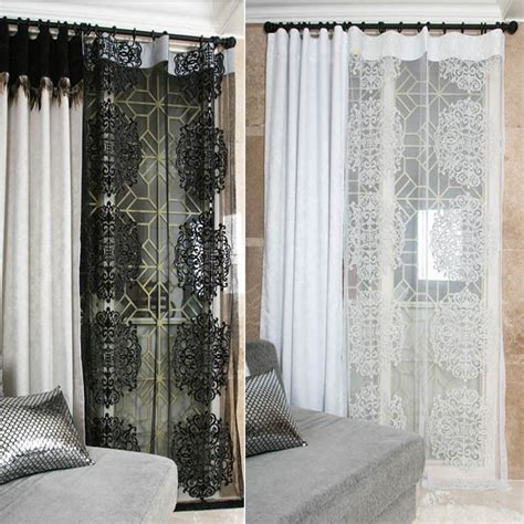 sheer lace curtains handmade romantic black white classic lace sheer single